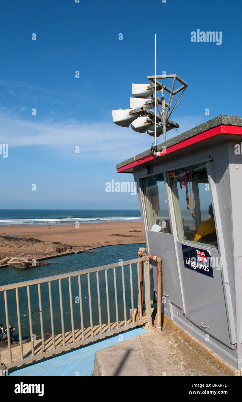the lifegiuards lookout post at summerleaze beach, bude, cornwall, uk - Stock Image