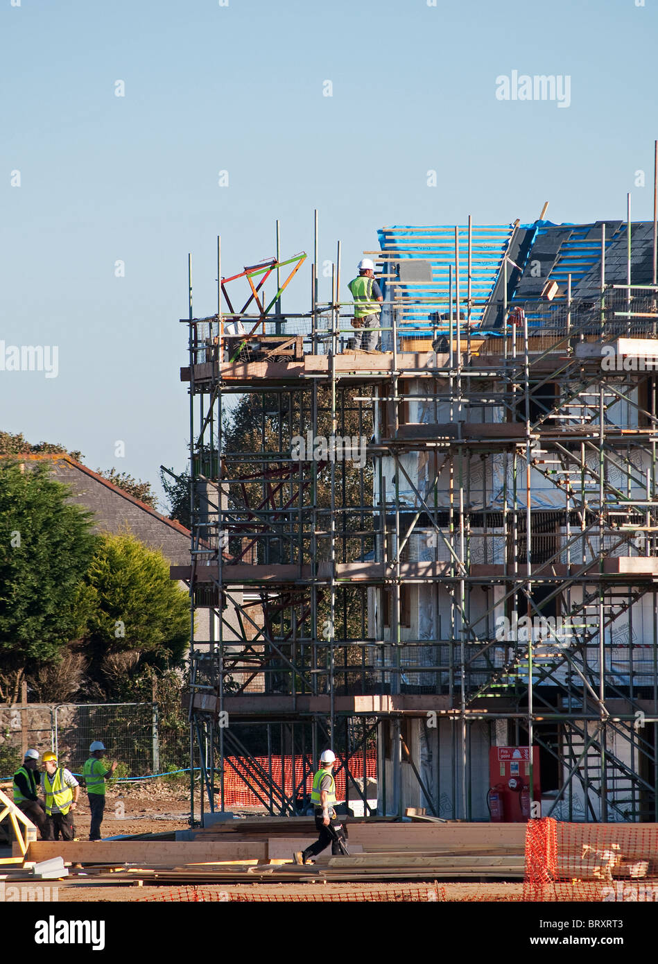 an affordable housing project under construction in Camborne, Cornwall, UK - Stock Image