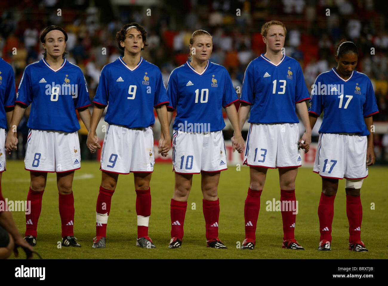 France National Team members line up prior to a 2003 Women's World Cup soccer match against the Korea Republic. - Stock Image