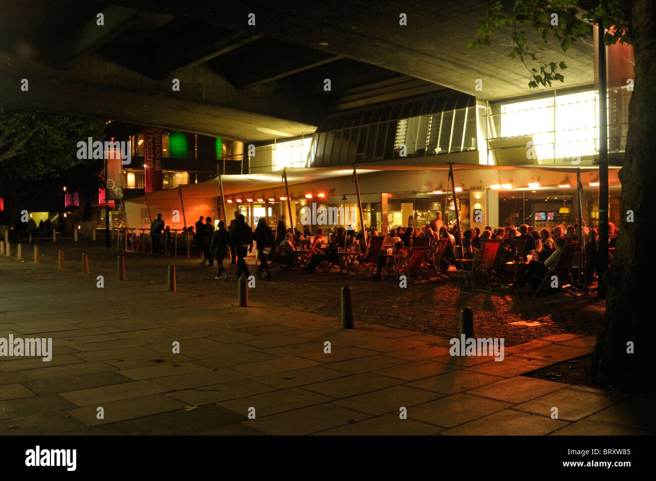 Outdoor seating at BFI Southbank, London, UK. - Stock Image