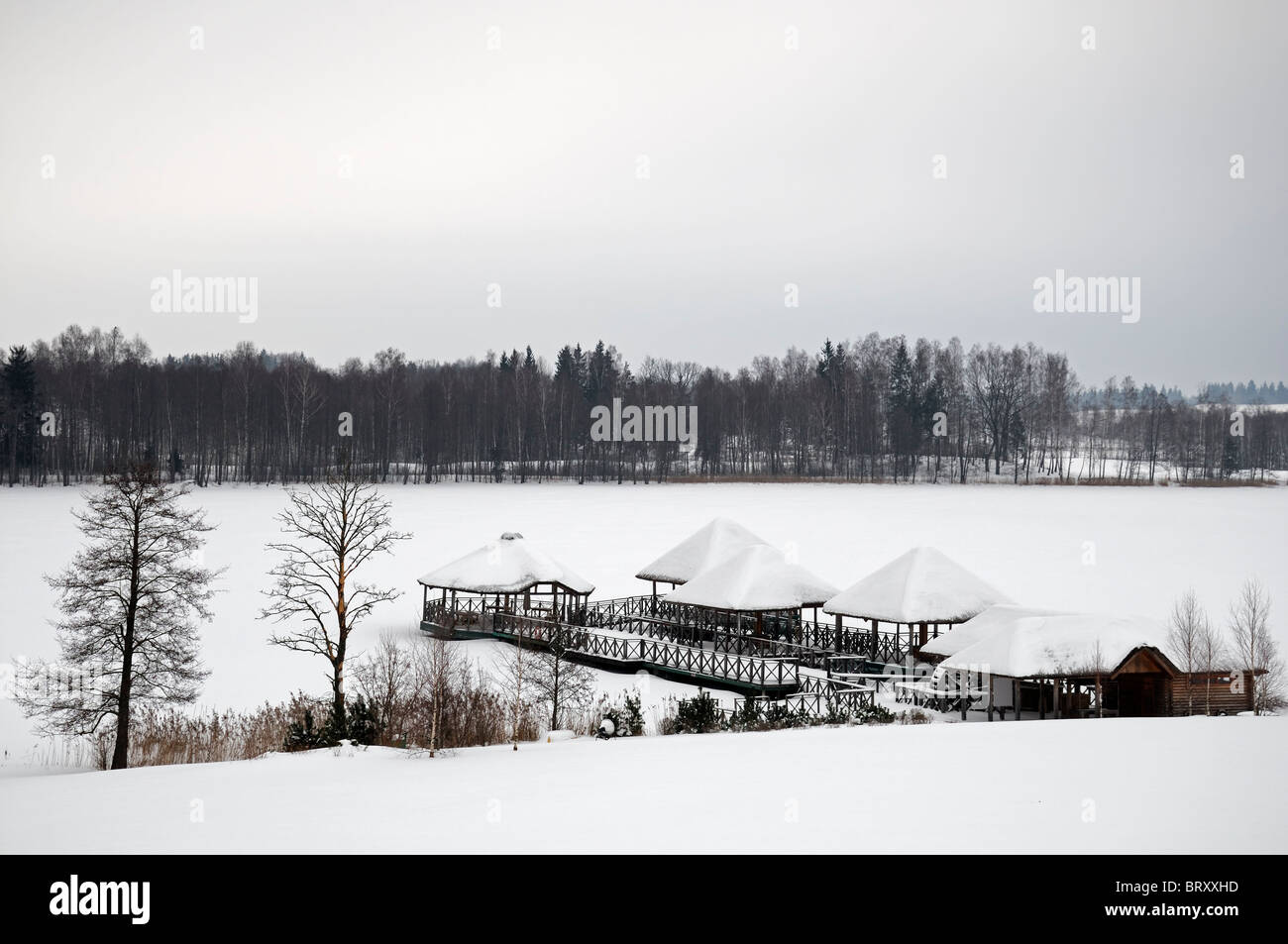bandstand prom promenade frozen lake snow cover covered winter ice frost - Stock Image