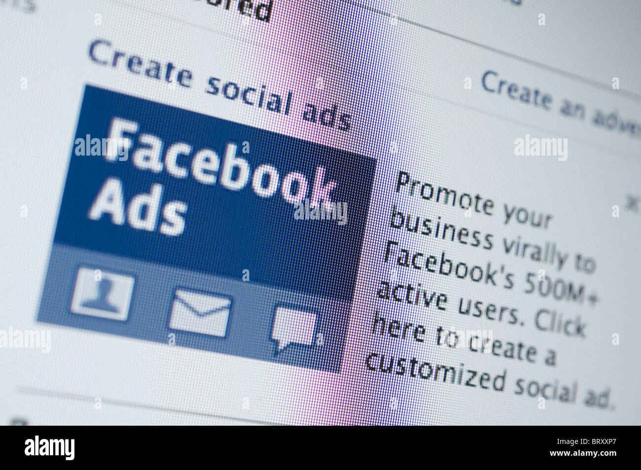 Computer screen closeup photograph - Facebook promoting on-line advertising for businesses - Stock Image