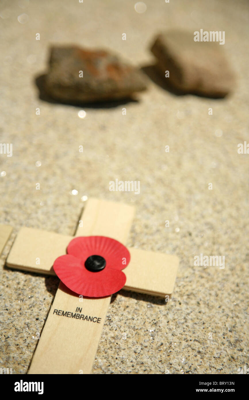 Remembrance Day poppy and cross. - Stock Image