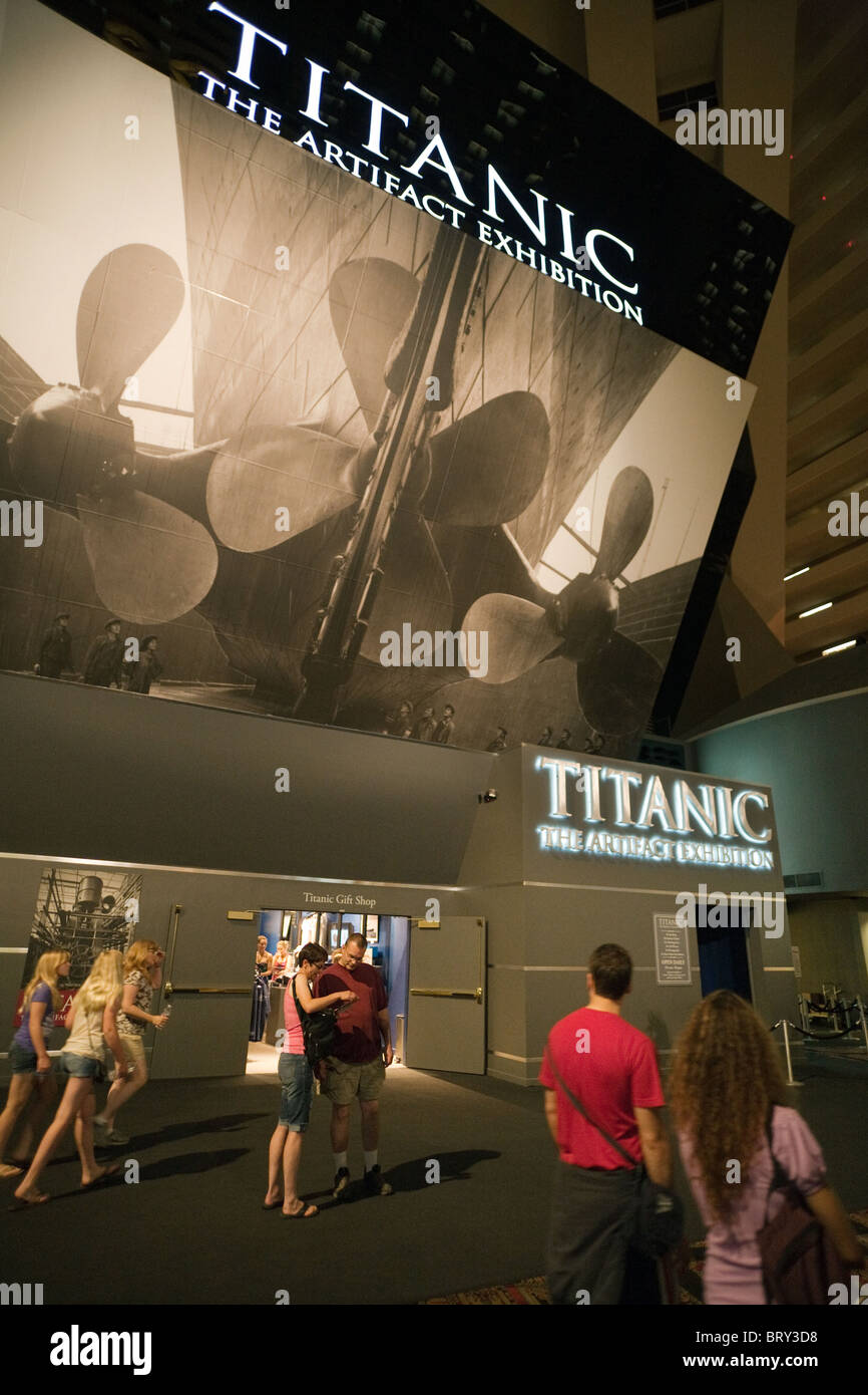 The entrance to the Titanic Exhibition, the Luxor Hotel, Las Vegas USA - Stock Image