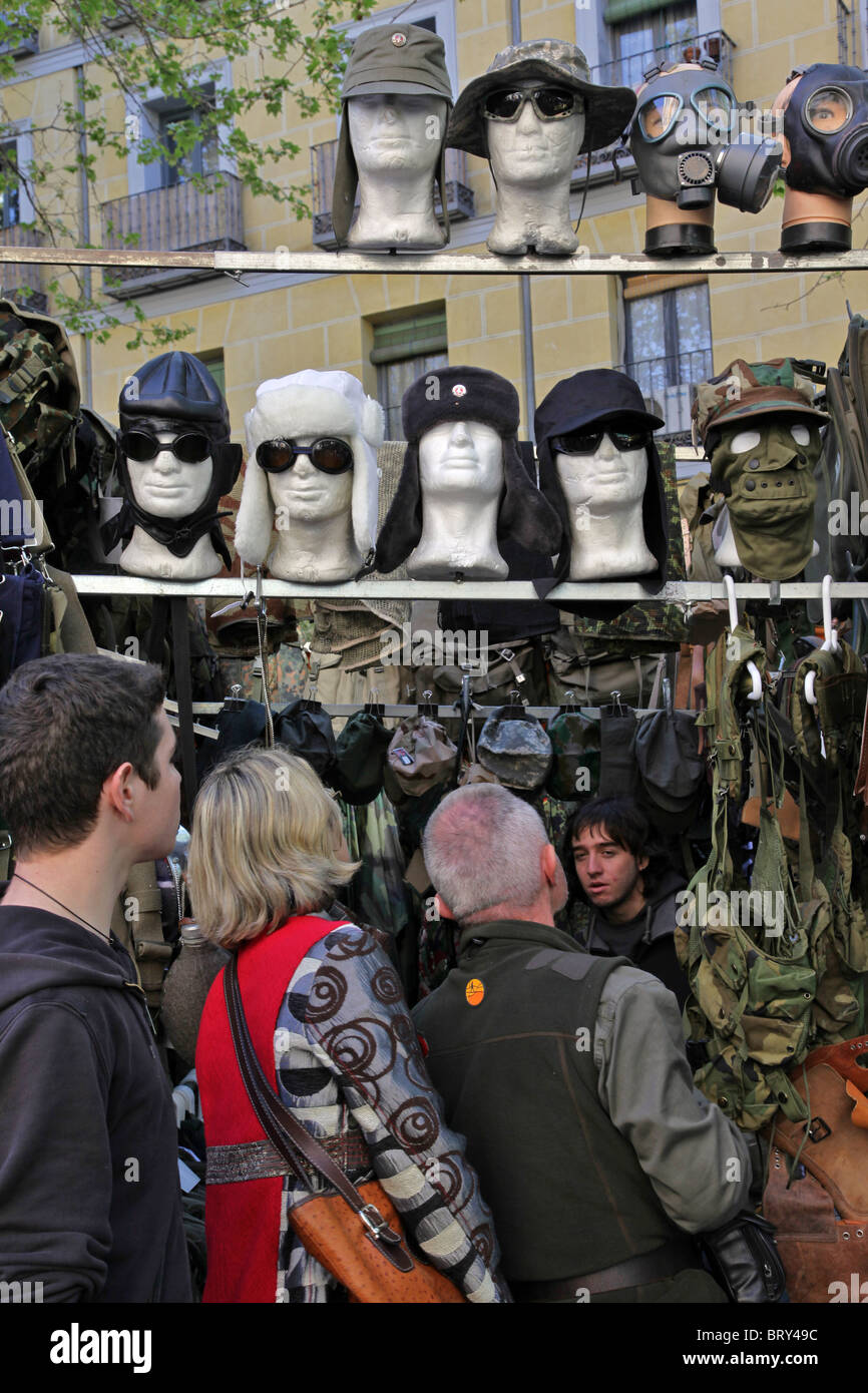 army surplus stand army caps uniforms flea market the rastro