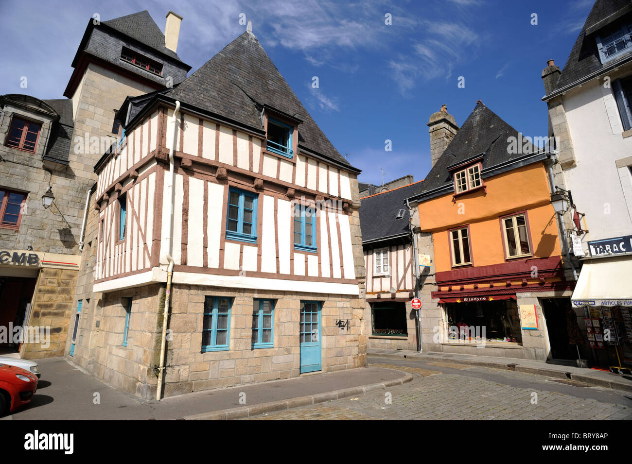 france, brittany (bretagne), finistere, quimper, half timbered houses - Stock Image