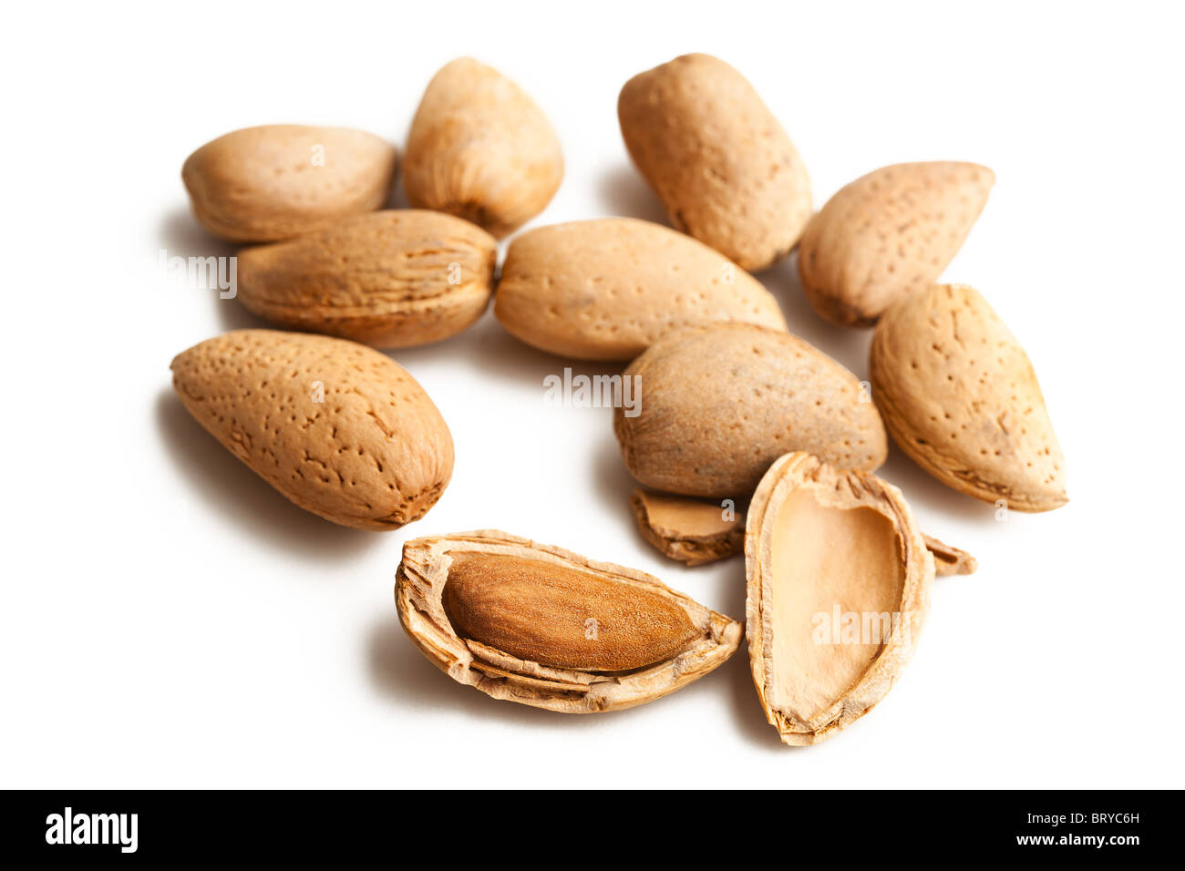 almonds in nutshell - Stock Image