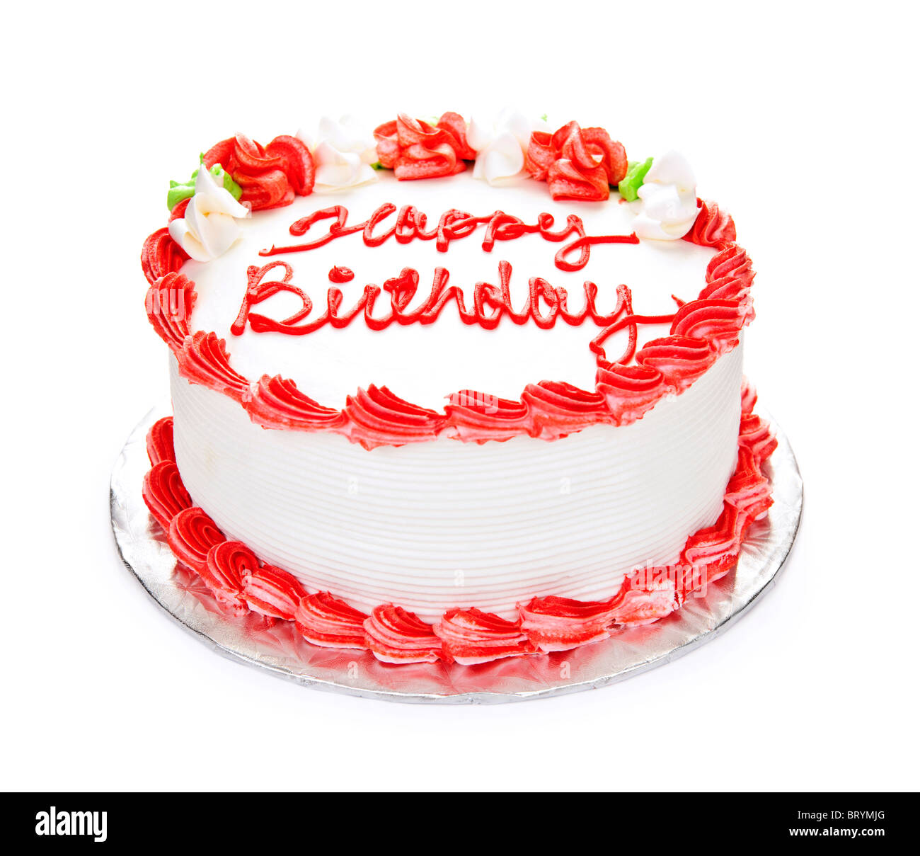 Sensational Birthday Cake With White And Red Icing Isolated On White Stock Funny Birthday Cards Online Alyptdamsfinfo