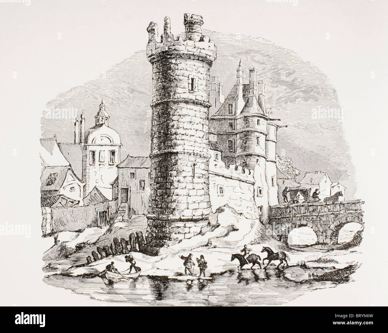 The 13th century Nesle Tower in Paris, now destroyed, which was located on the left bank of the Seine opposite the - Stock Image