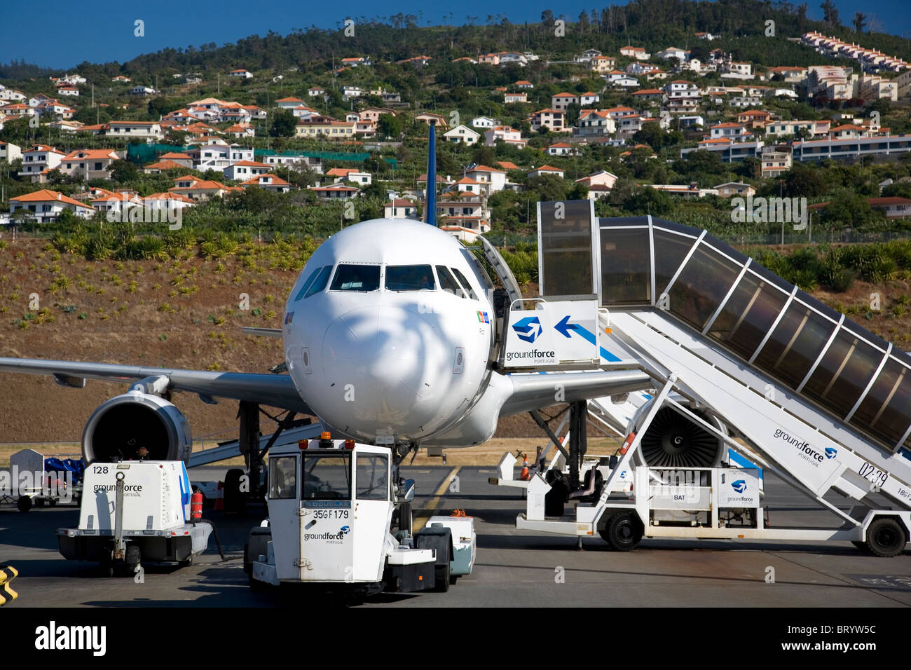 Sata Plane at Funchal Airport - Stock Image