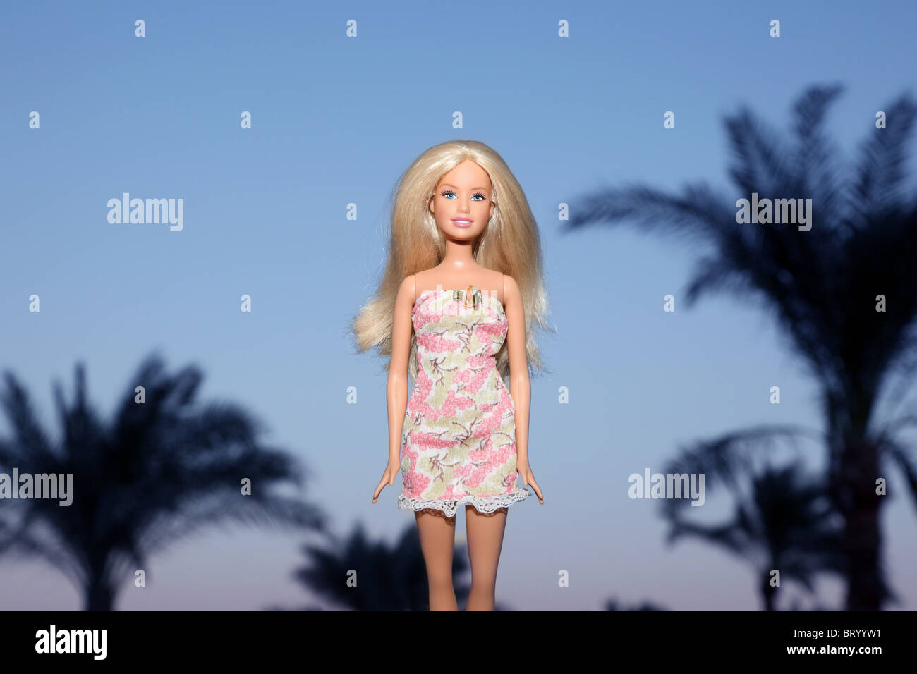 Barbie doll standing in front of Palm trees - Stock Image