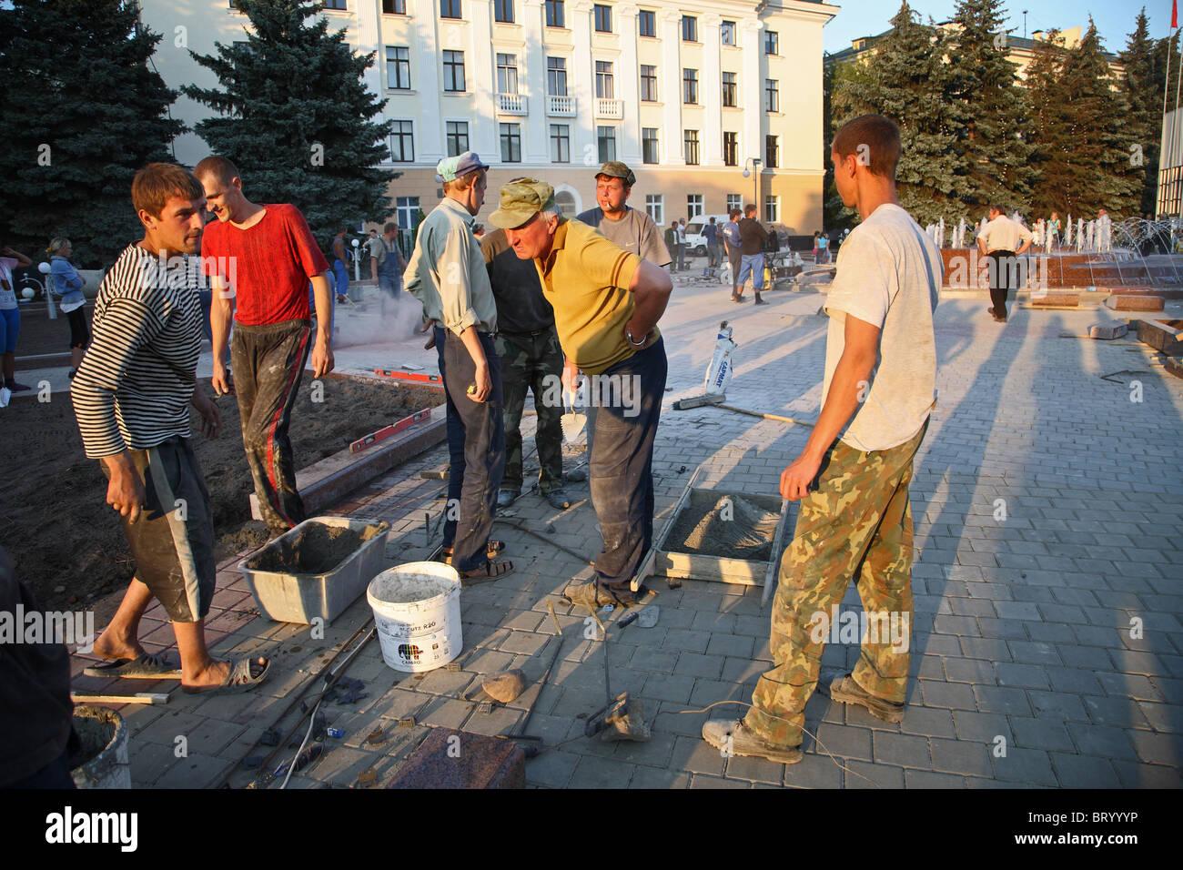 Renewal of a public square, Brest, Belarus - Stock Image