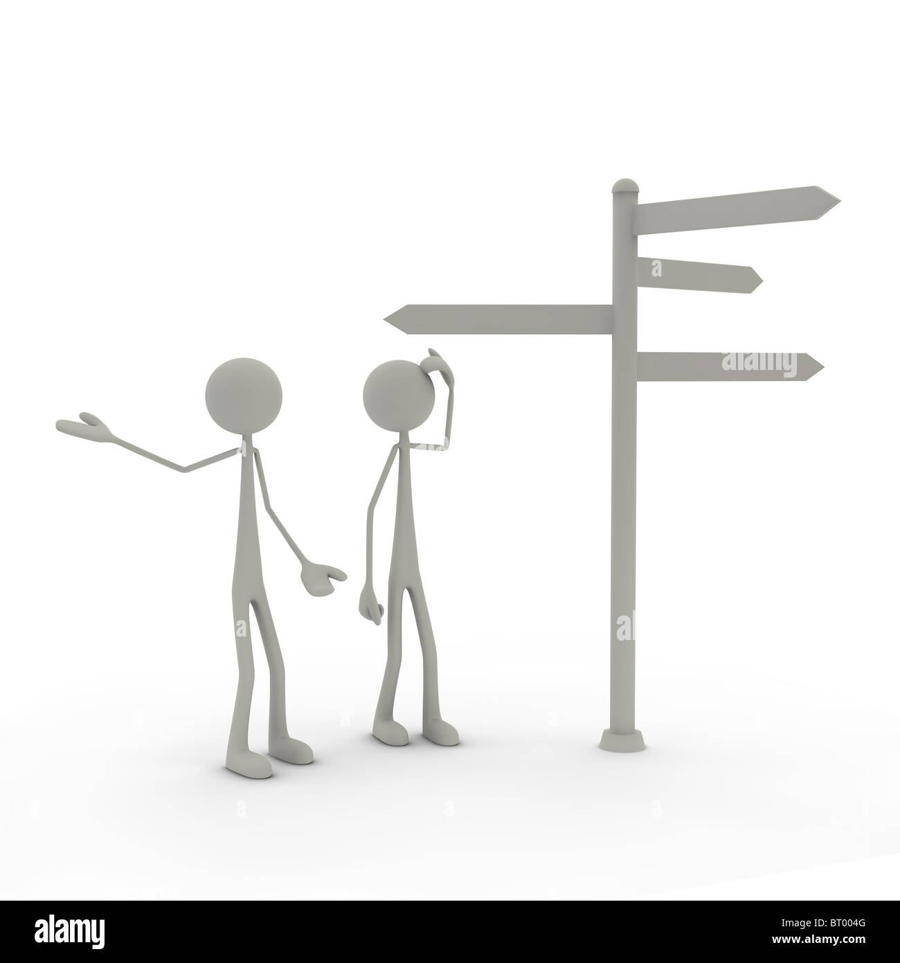 Figures with direction sign Stock Photo