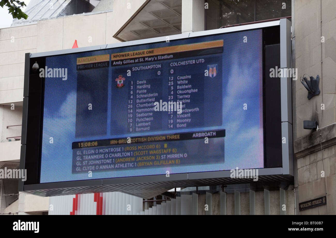 Cardiff, Glamorgan, South Wales, UK. Large plasma television screen showing football results outside St David's - Stock Image