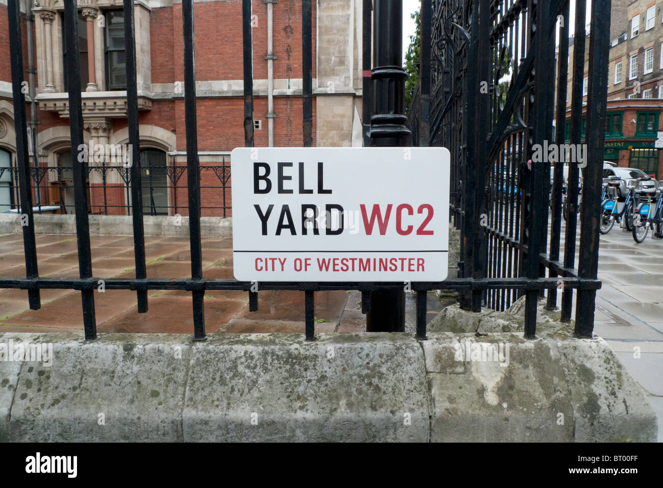 Bell Yard WC2 City of Westminster street sign at  the back of the Royal Courts of Justice near Star Yard London - Stock Image