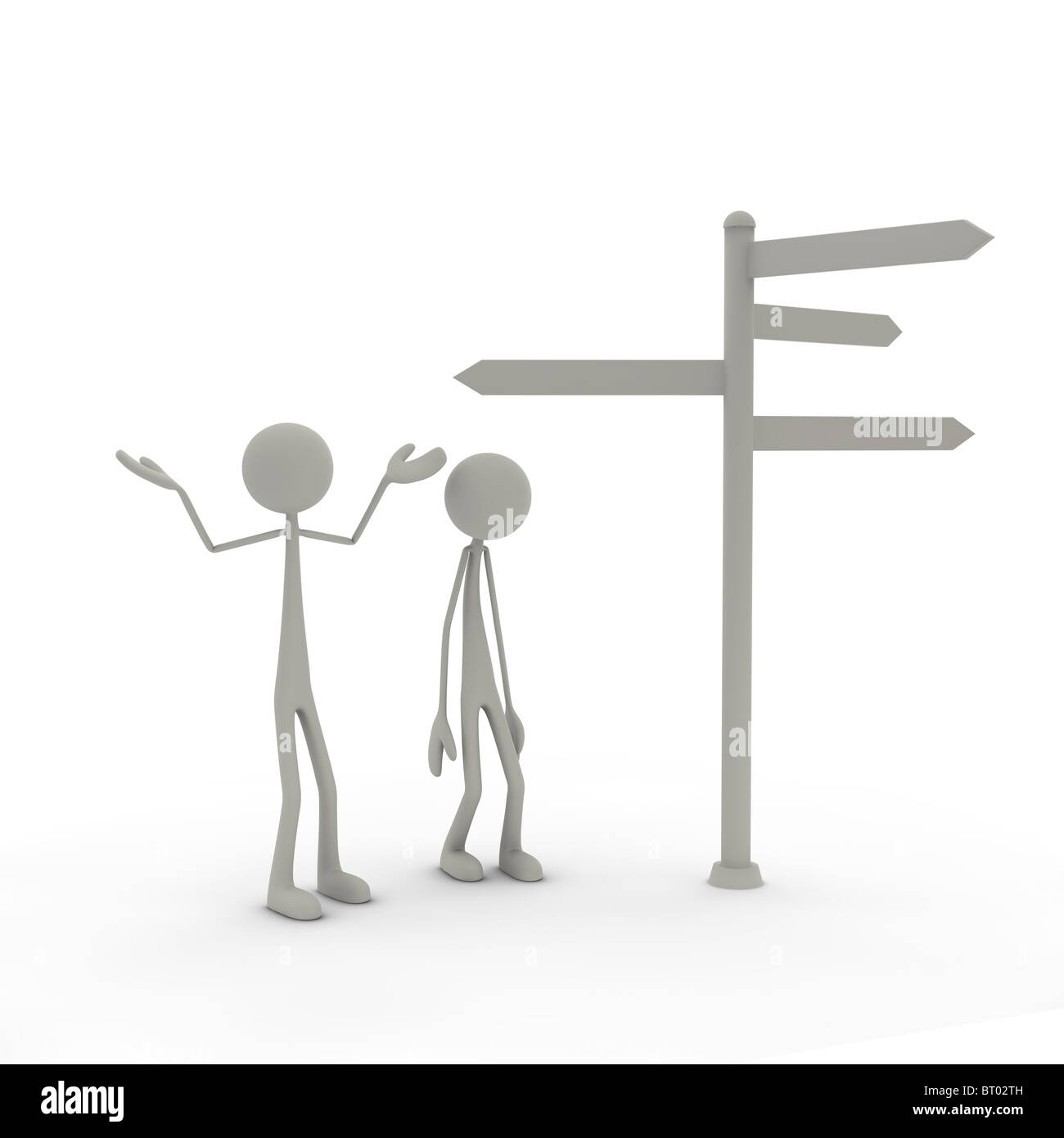 Figures with direction sign with arms up Stock Photo