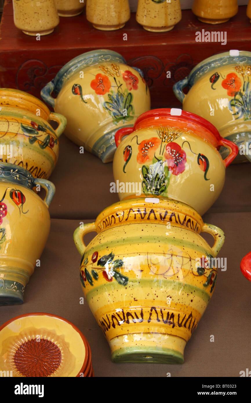 Local ceramics with motifs, Market, Hyeres, Provence-Alpes