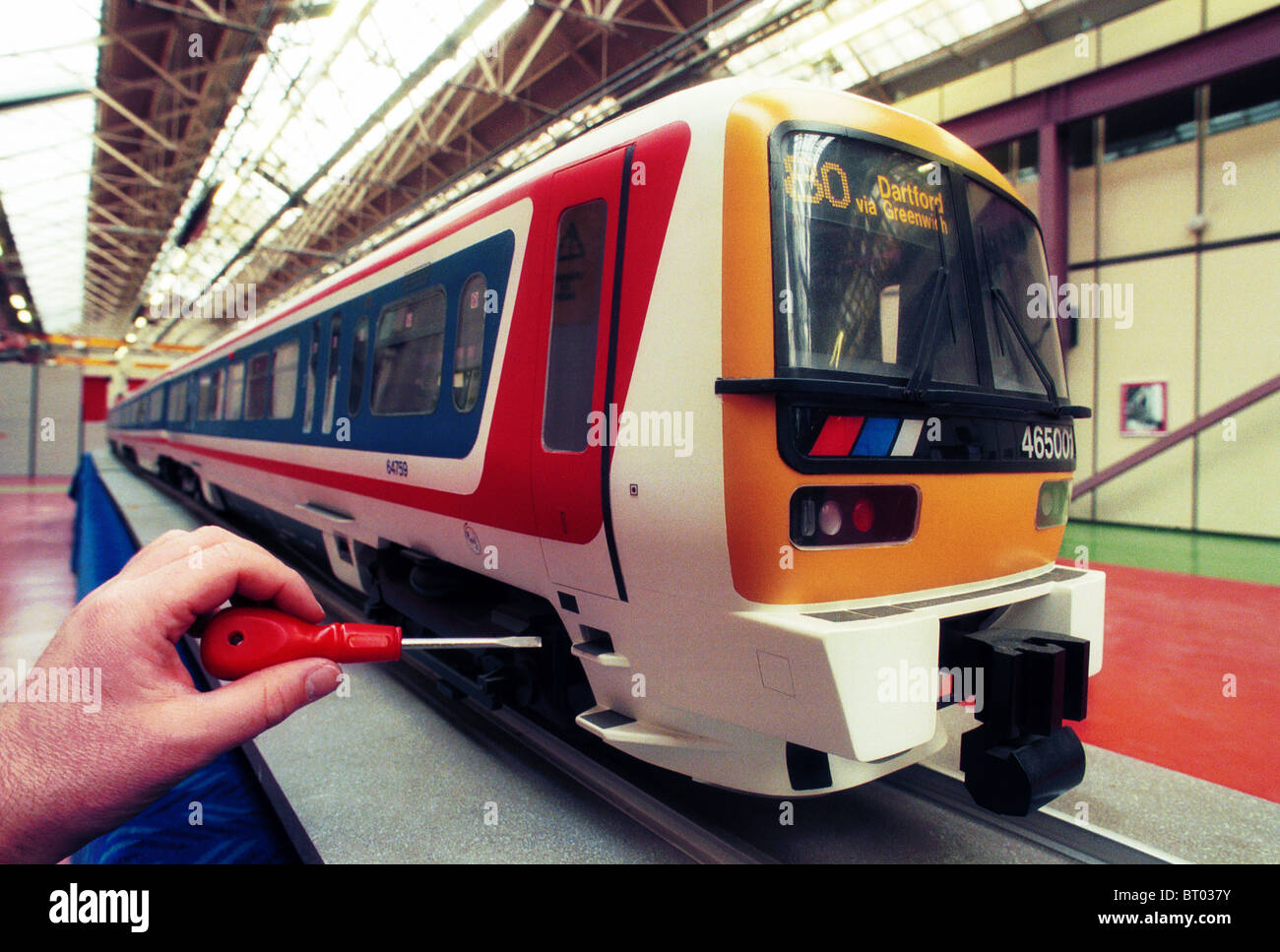 A model train at Derby ABB Train works in the UK Stock Photo