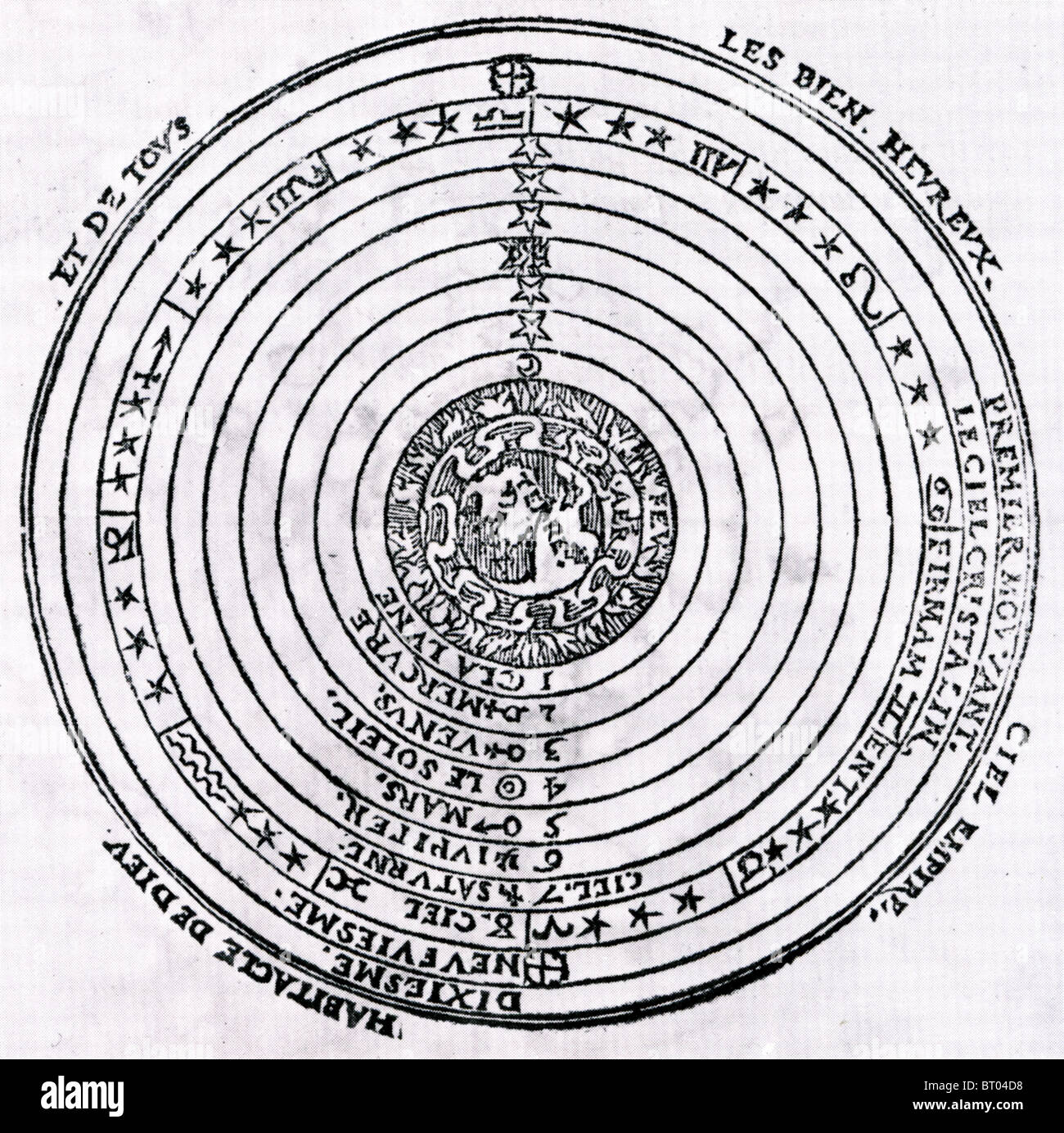 PETER APIAN (1495-1552) German humanist. Illustration of a geocentric universe from his book Cosmographiae introductio Stock Photo