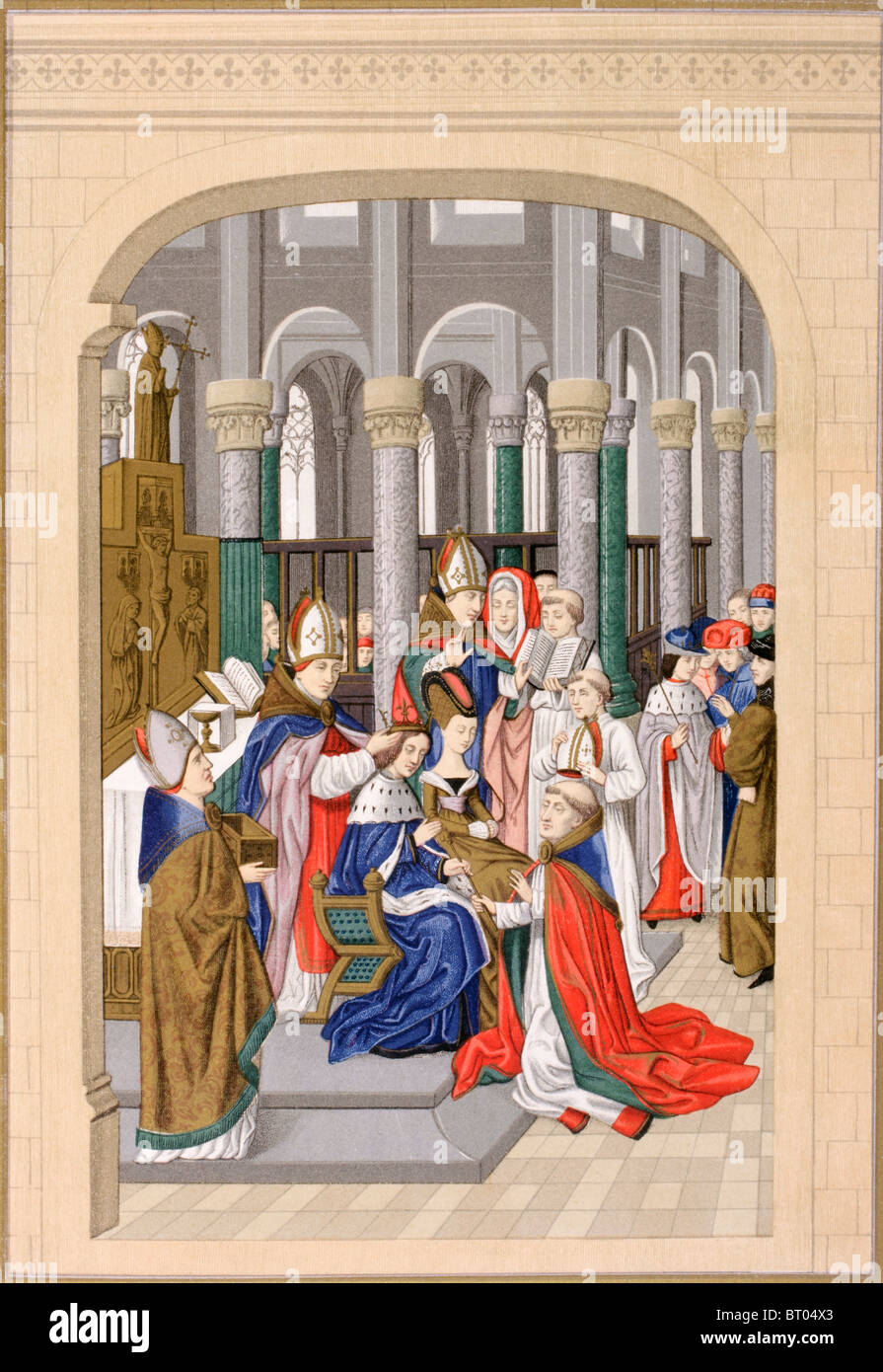 Coronation of Charles V, King of France, called The Wise, May 1364. - Stock Image