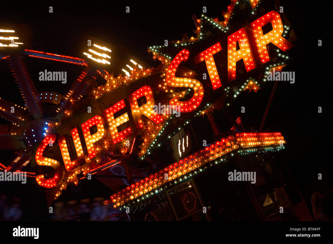 Neon Lights 'Super Star' - Stock Image