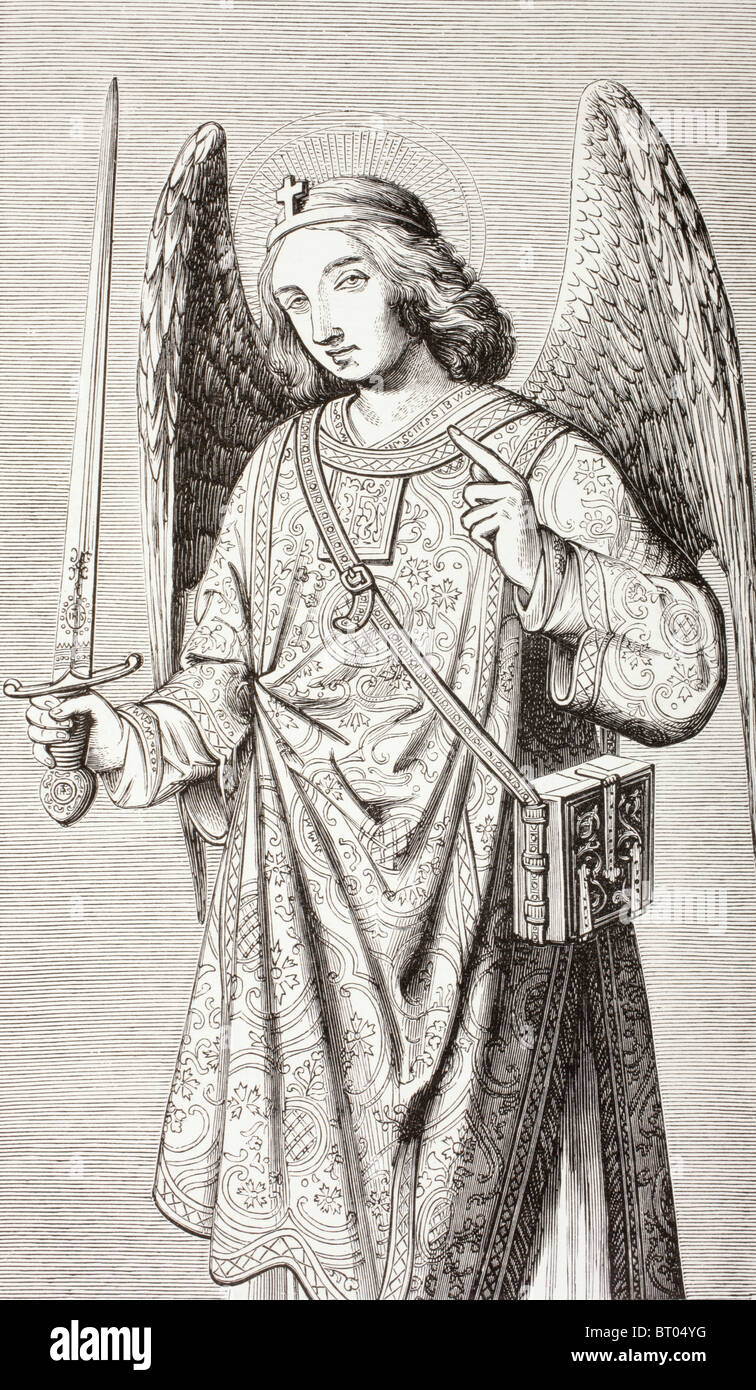 The archangel Michael, after a miniature in a Book of Hours. - Stock Image