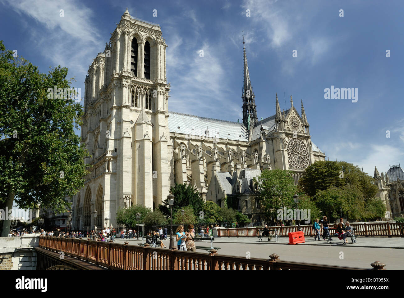 South side of Notre Dame Cathedral vied from Pont Au Double, Paris France - Stock Image