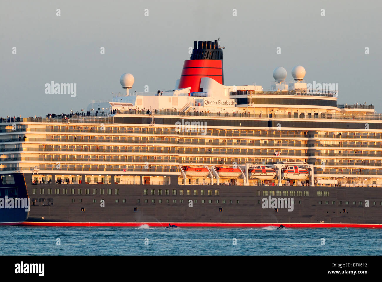 Liner 'Queen Elizabeth' sailing on her maiden voyage from Southampton water - Stock Image