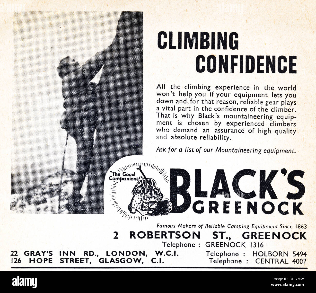 Black's camping equipment advert in the magazine Mountaineering published by The British Mountaineering Council Stock Photo