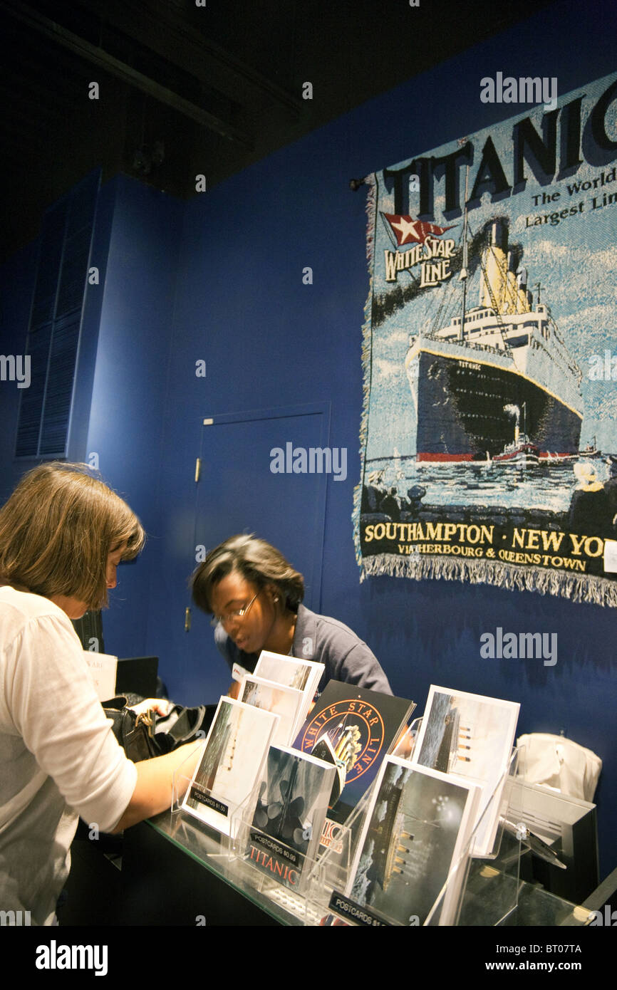 A tourist buying a ticket at the entrance to the Titanic Exhibition, the Luxor Hotel, Las Vegas USA - Stock Image