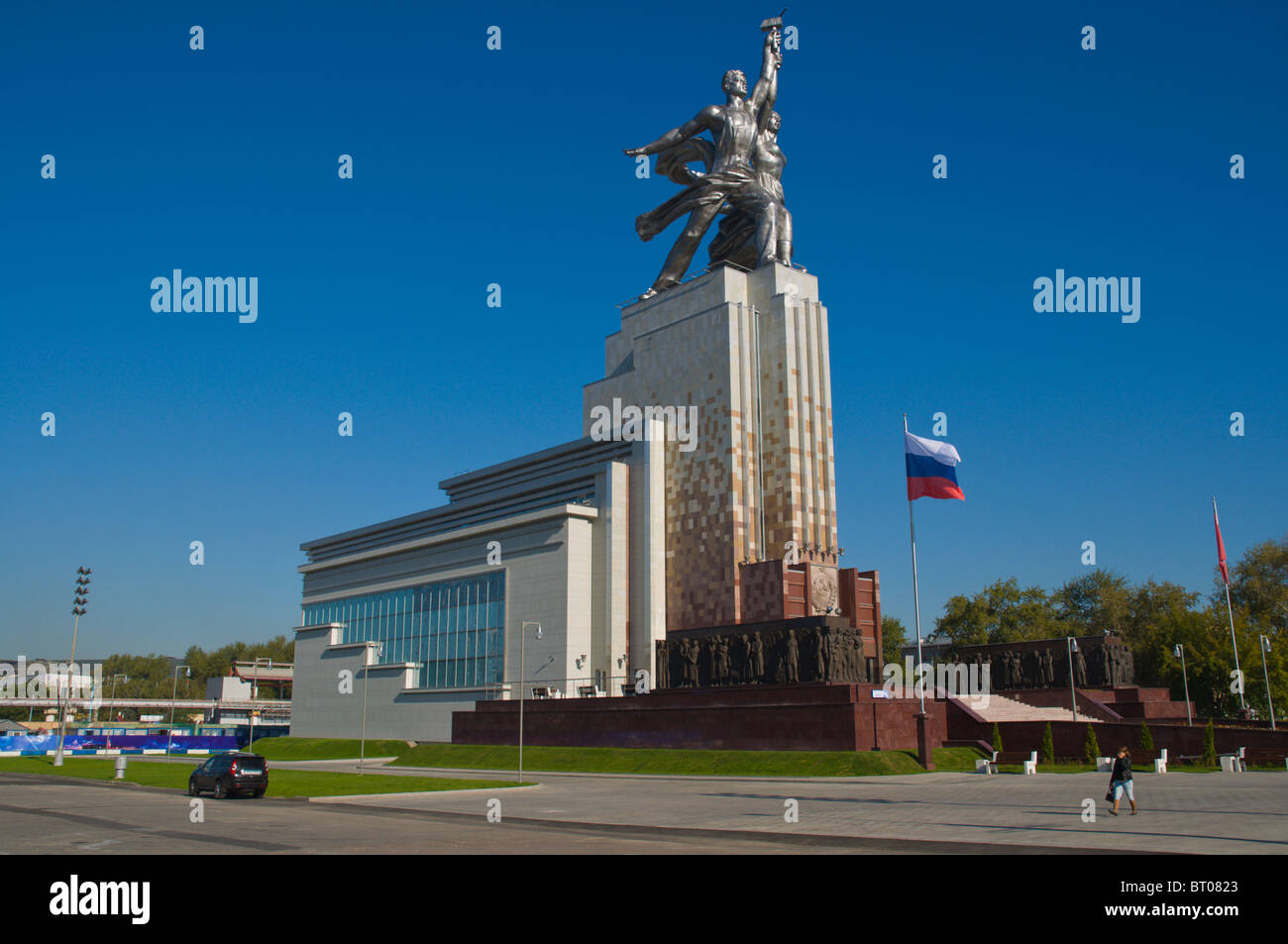 Worker and Kolkhoz Woman sculpture by Vera Mukhina outside VDNKh All-Russian exhibition centre from Soviet times - Stock Image