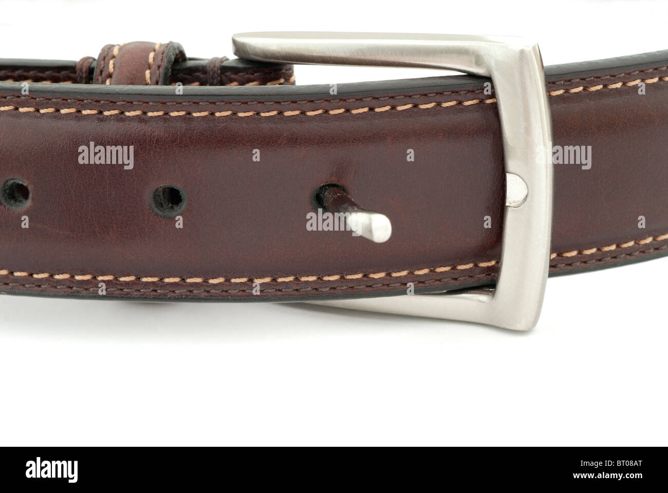 Leather Belt and Buckle - Stock Image
