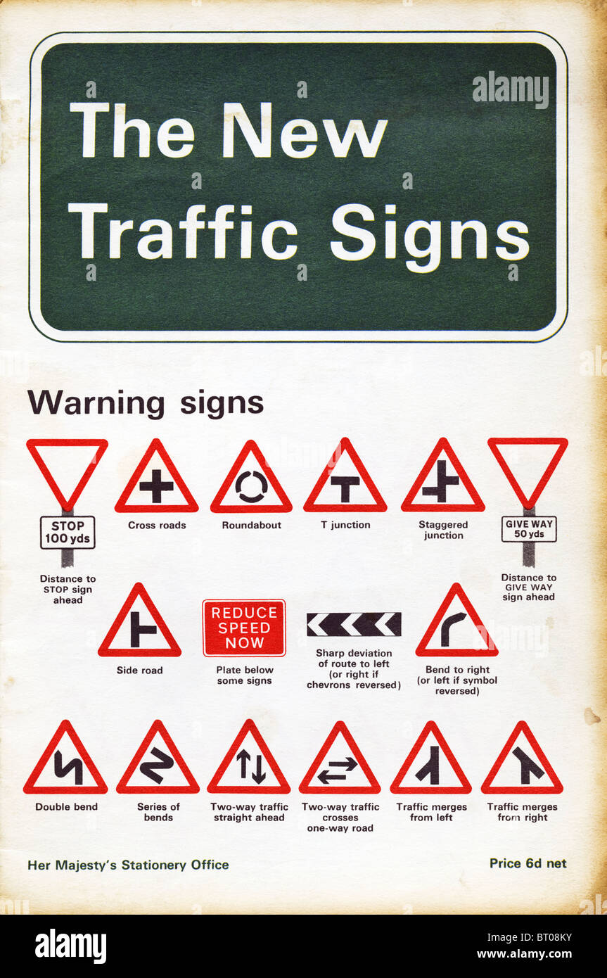 New Traffic Signs booklet circa 1965 - Stock Image