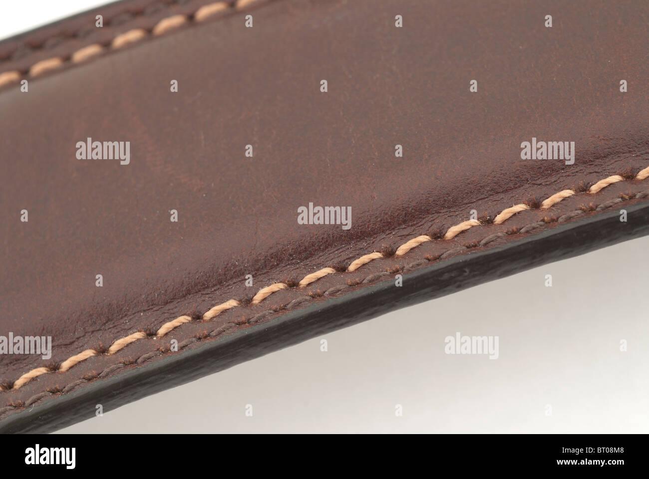 Stitches on Leather Belt - Stock Image