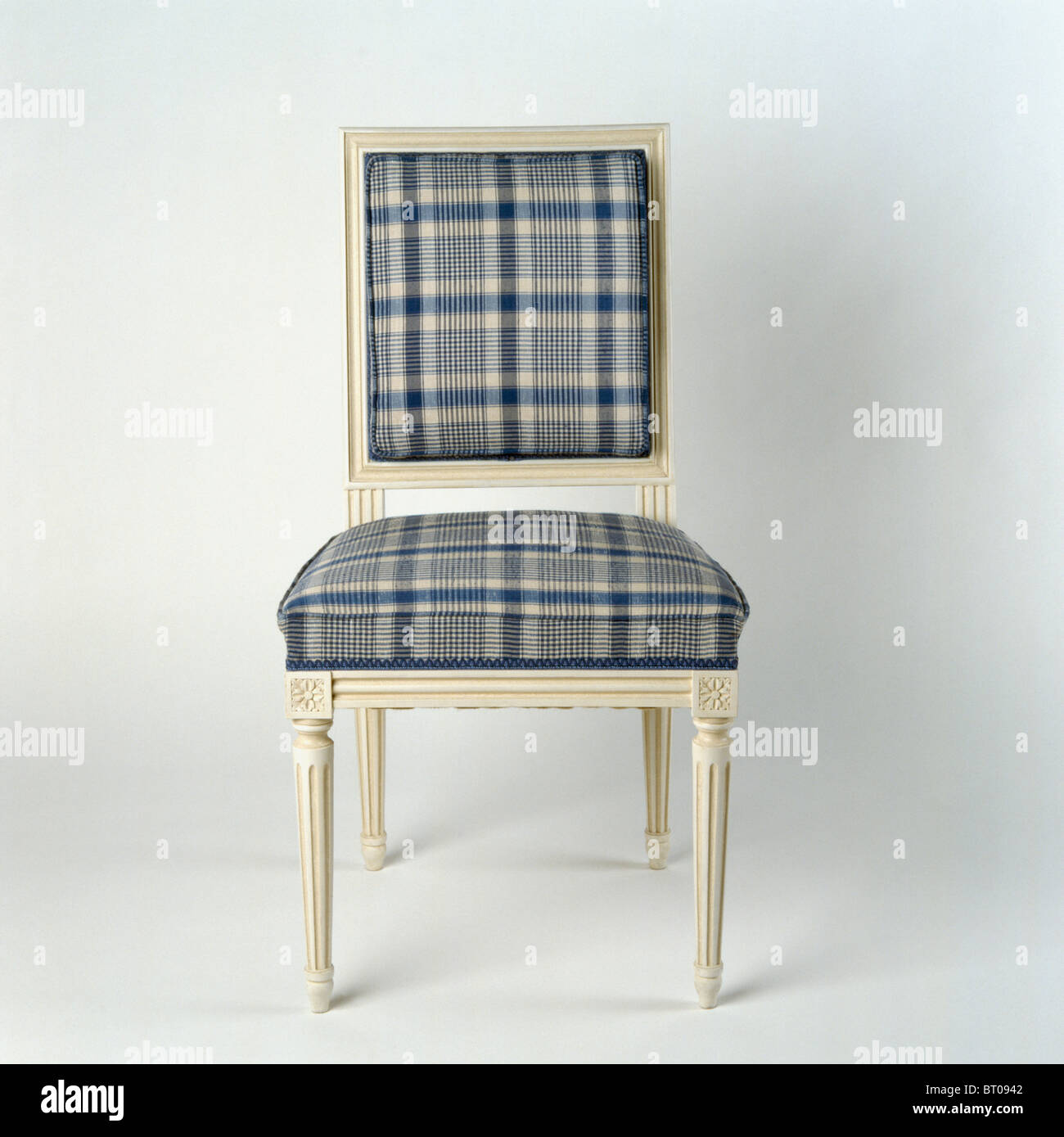 Close Up Of Cream Painted Dining Chair Upholstered In Blue Gray Plaid Stock Photo Alamy