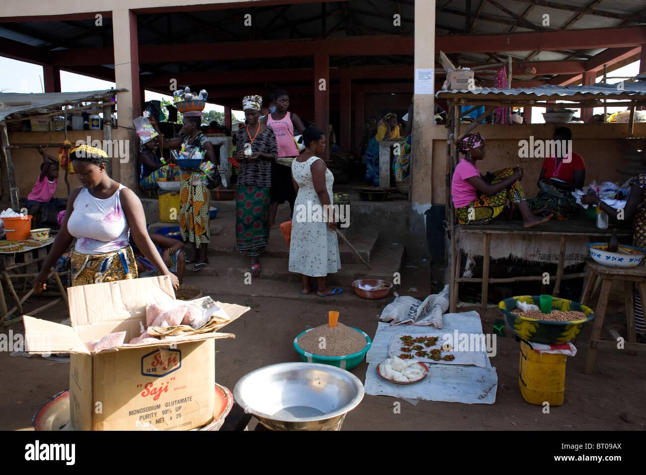 market in Lungi Sierra Leone West Africa - Stock Image