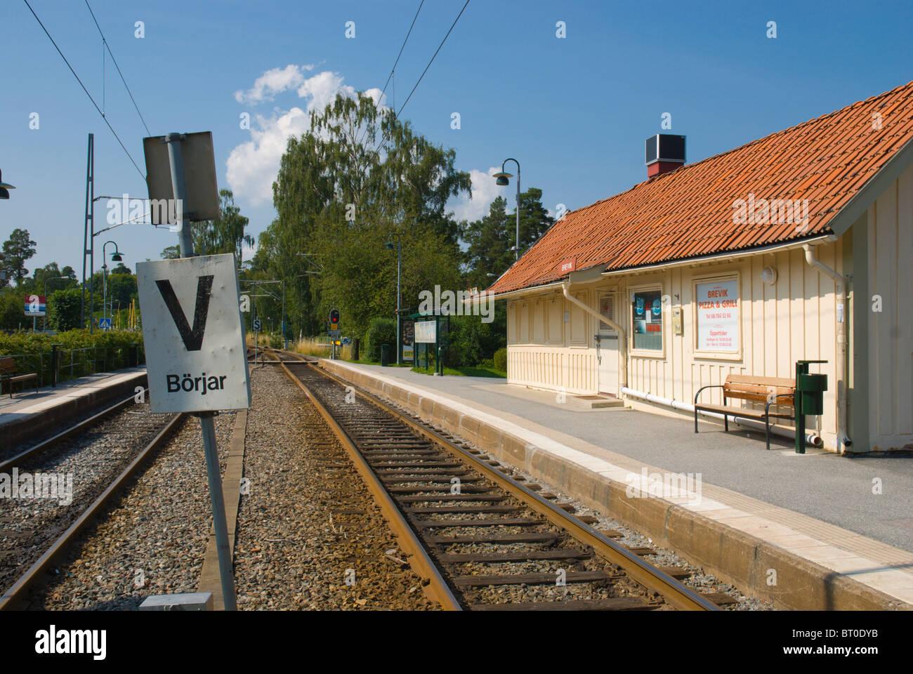 Brevik station on Island of Lidingö outside Stockholm Sweden Europe Stock Photo