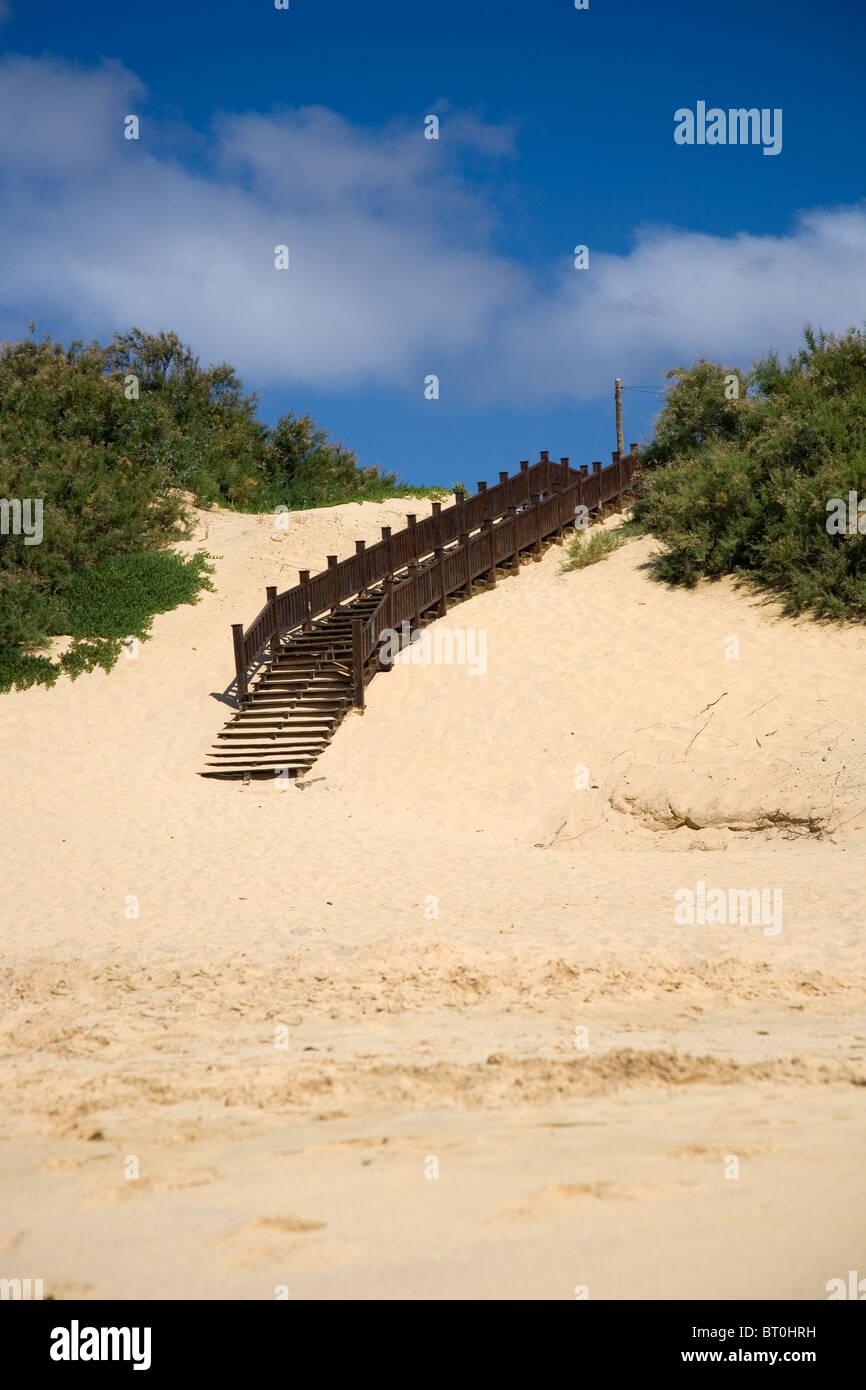 Porto Santo wooden steps - Stock Image