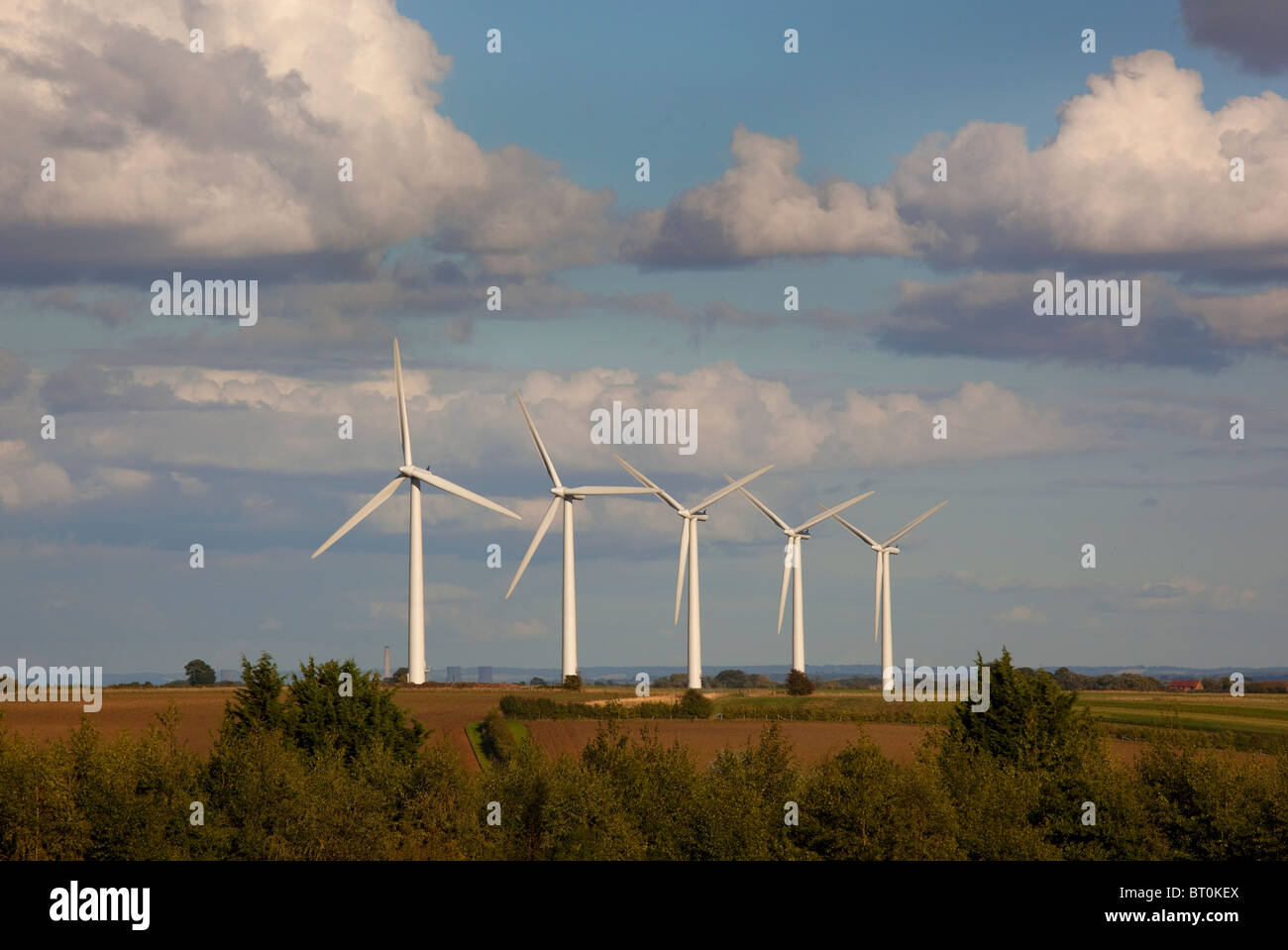 Wind Turbine farm, Watchfield, Oxfordshire, England - Stock Image