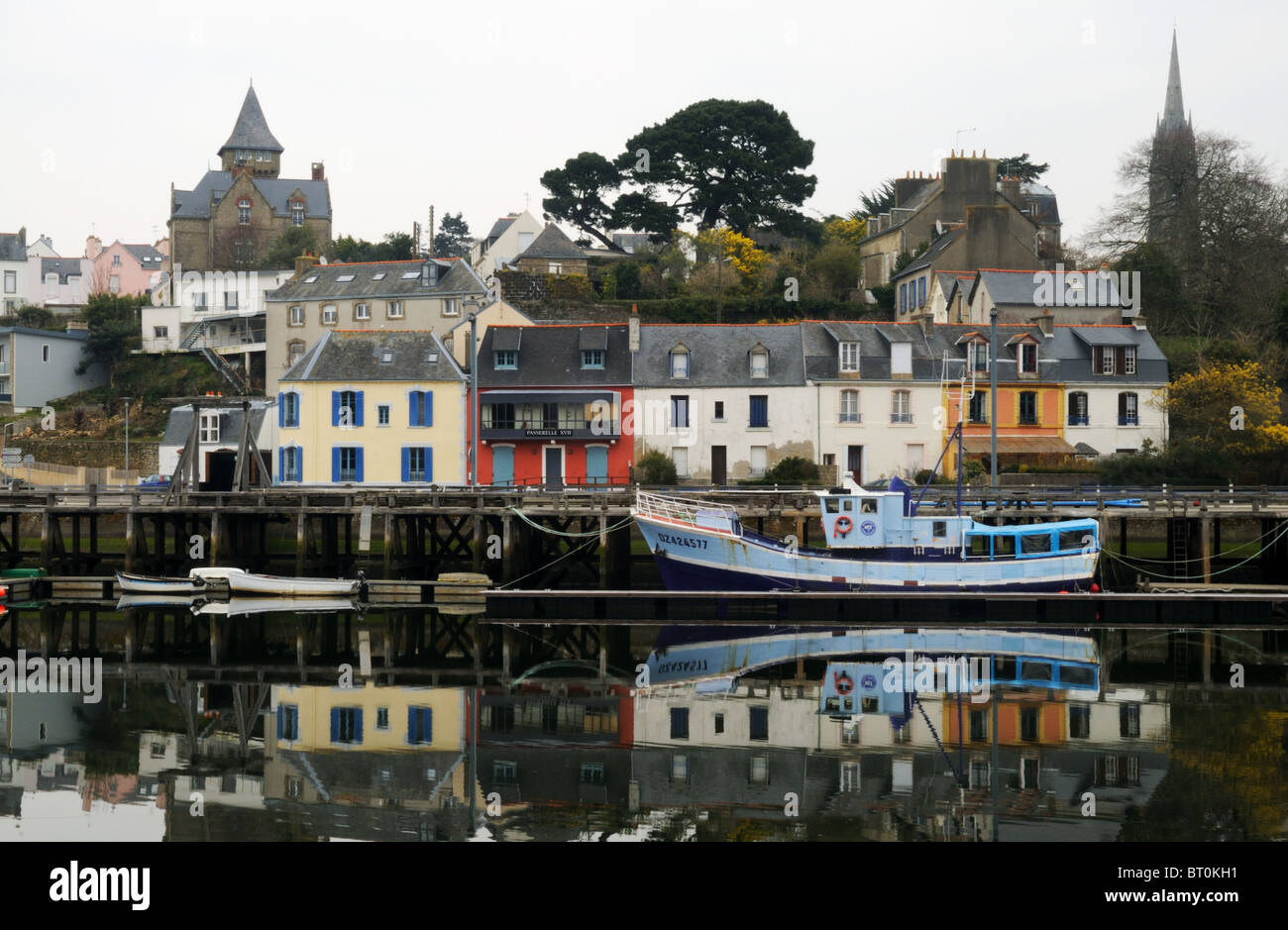 A calm scene in a French harbor - Stock Image