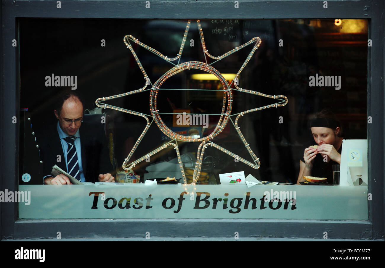 two people in cafe brighton - Stock Image
