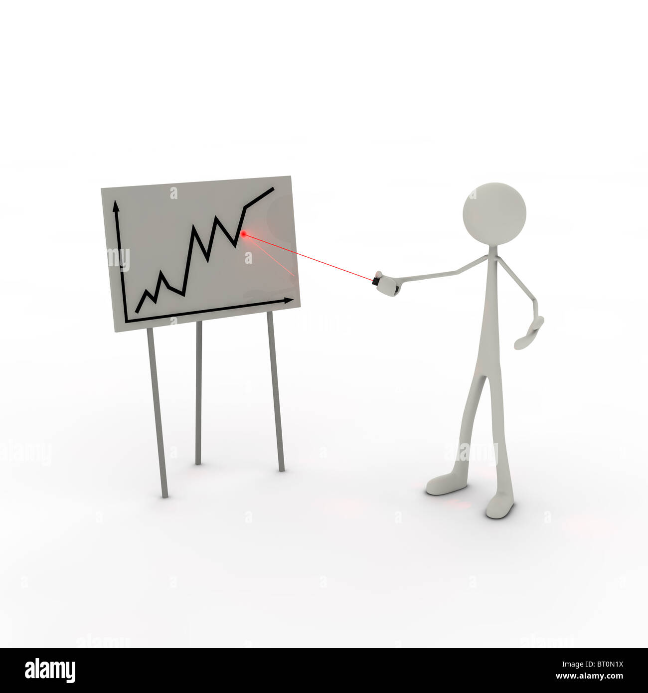 Figure with graph and laser pointer Stock Photo