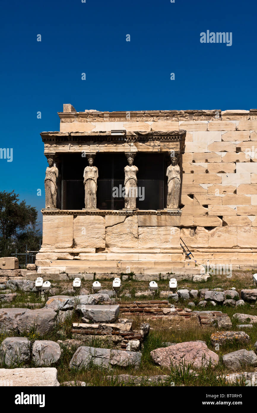 One of the temples in Acropolis. Temple of Athina. - Stock Image