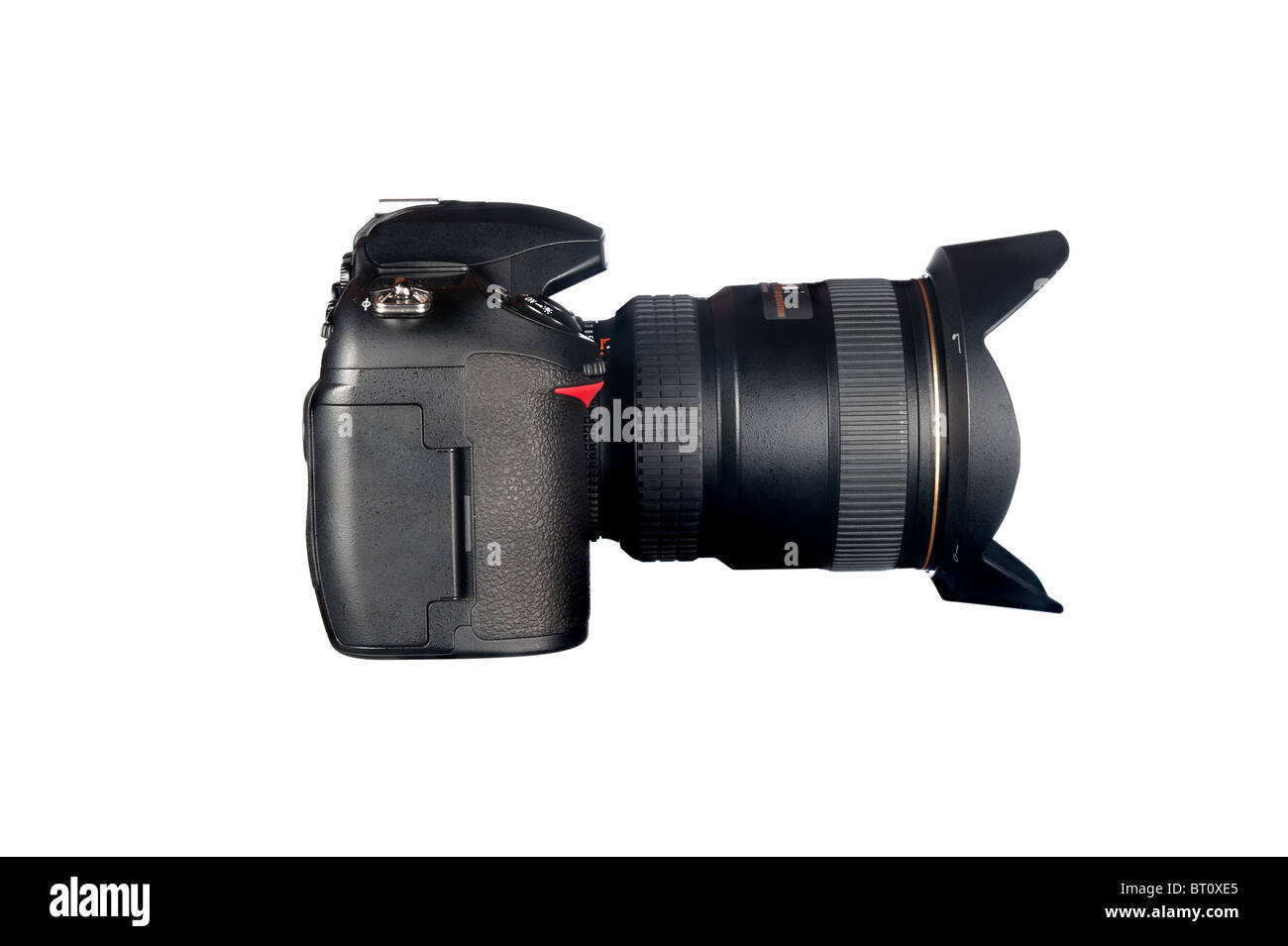 Side view of a DSLR camera and lens isolated on white. - Stock Image