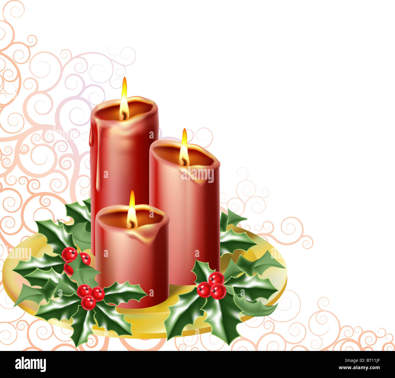 christmas candles and holly with an abstract festive background - Stock Image