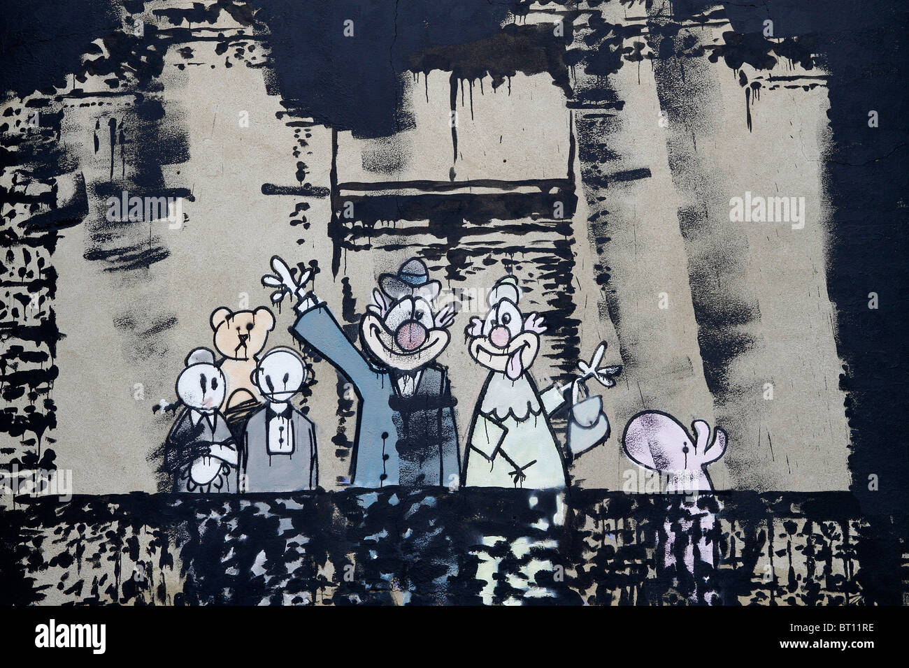 Banksy royal family portrait, stencil graffiti, London Stoke Newington Church Street, street art contemporary urban - Stock Image