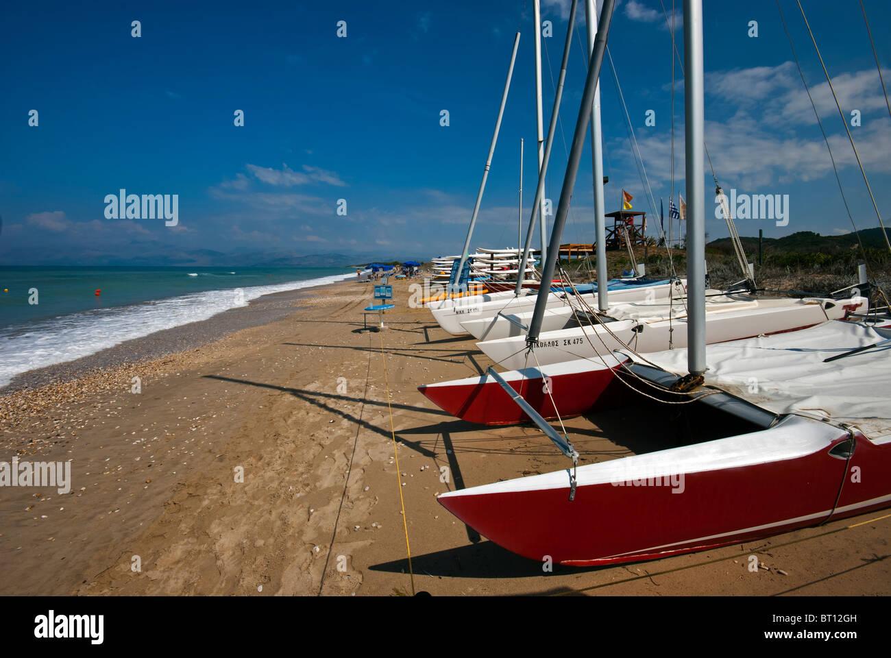 Boat hire on Acharavi Beach, Ionian Islands Corfu. - Stock Image