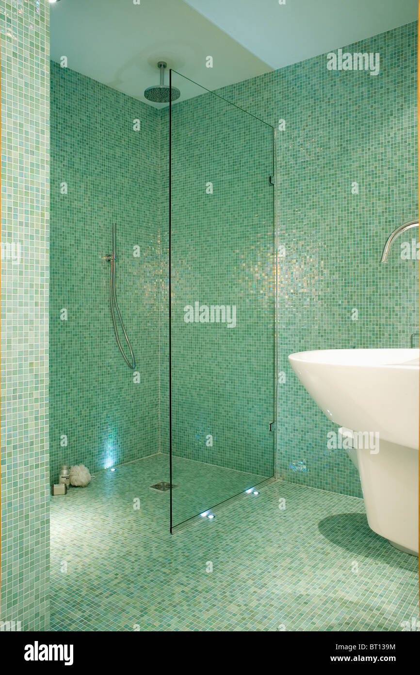 Glass Screen On Walk In Wet Room Shower In Modern Green