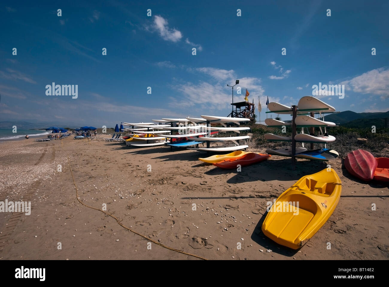 Surf boards for hire, Acharavi Beach, Ionian Islands Corfu. - Stock Image