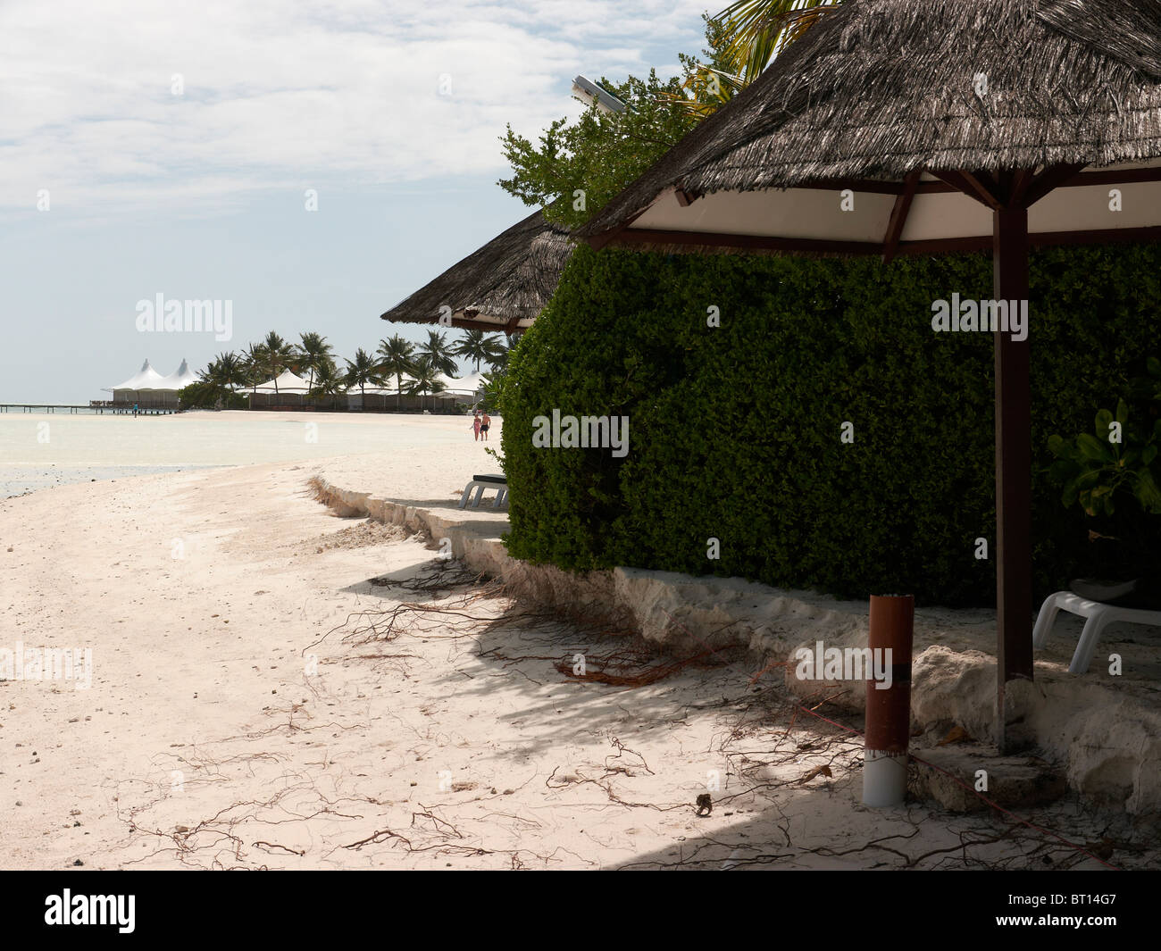 Erosion on Maldivian island, showing signs of rising sea levels Stock Photo